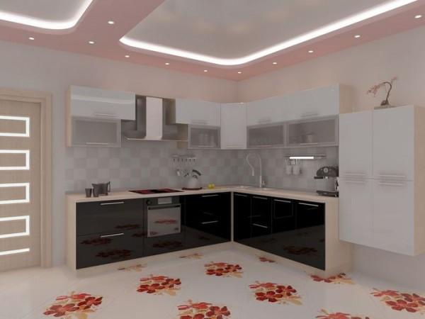 Подвесной гипсокартонный потолок на кухне
