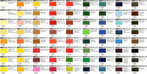 Цветовая гамма масляных красок