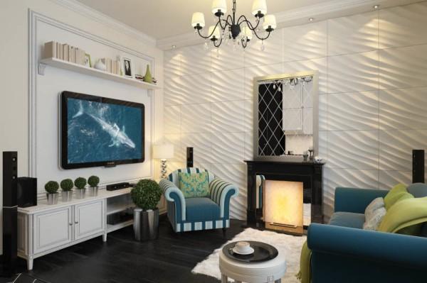 3Д панели в дизайне гостиной