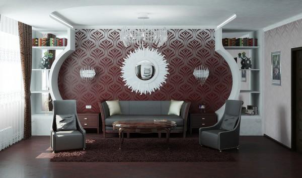 Дизайн гостиной: гипсокартон и обои