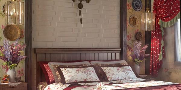 Гипсовые объёмные панели в интерьере спальни