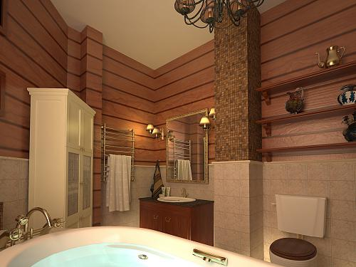 Имитация бруса в ванной комнате