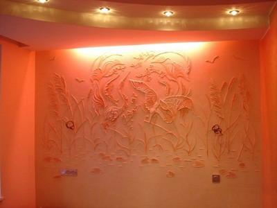 Интересное декорирование стен помещения