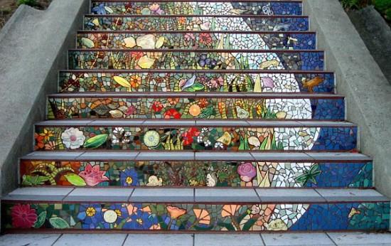 Облицовка ступеней: отделка мозаикой