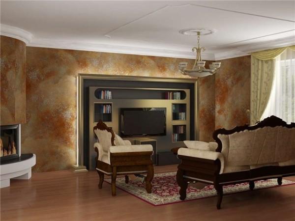 Стены гостиной отделаны декоративной штукатуркой