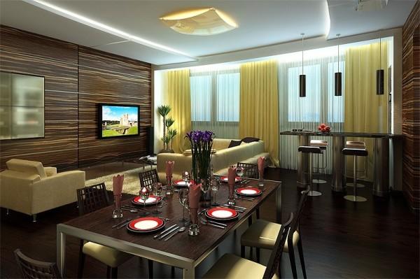 Древесные панели в дизайне гостиной