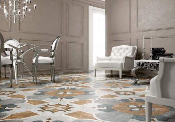 Мозаичный пол из керамогранита в гостиной