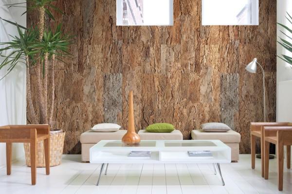 Одна стена: отделка корой дерева