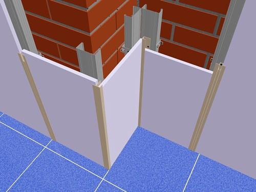 Схема обшивки стен ванной стекломагнезитом