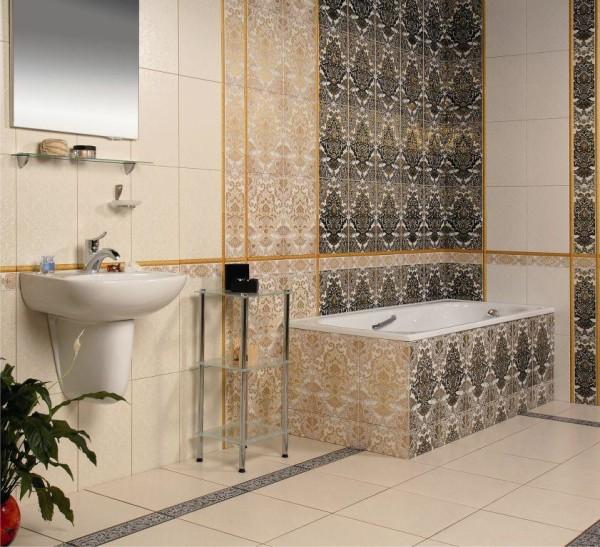 Вариант интересного дизайна ванной комнаты