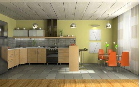 Дизайн кухни при помощи гипсокартонных панелей