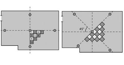 Разметка при диагональном способе крепления
