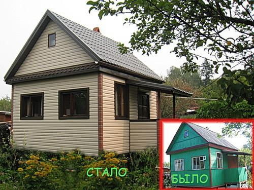 Дачные домики облицовка сайдингом или продление жизни строению