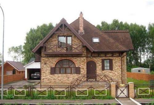 Деревянный дом облицовка камнем и деревом