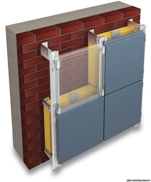 Монтаж вентилируемого фасада с облицовкой композитными панелями