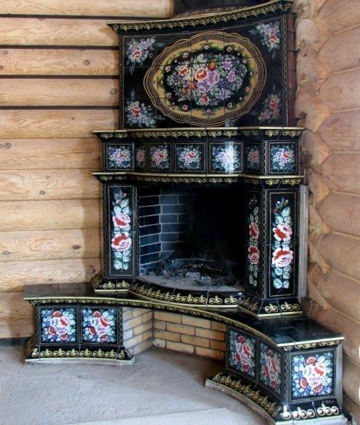 Облицовка печки керамической плиткой: русский стиль