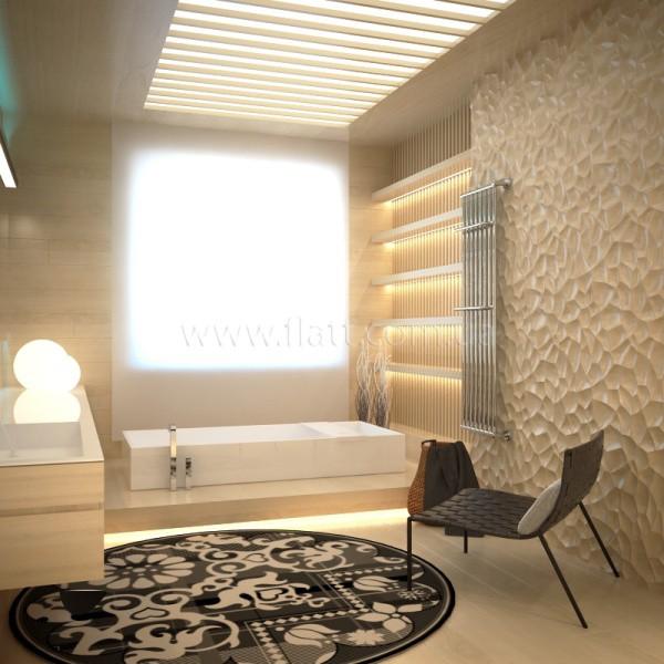 Дизайн ванной комнаты с полимерными 3Д панелями