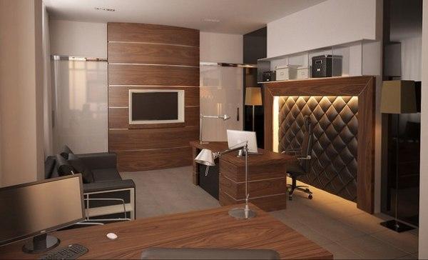 Интересное решение – в отделке стен и мебели использованы одинаковые шпонированные панели