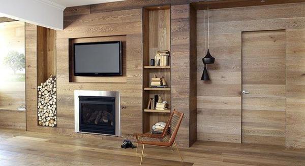 Облицовочные деревянные панели в интерьере