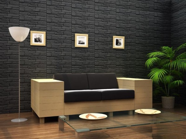 Фасадная керамическая плитка под камень в интерьере гостиной