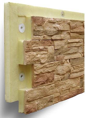 Фото утепленной облицовочной панели с монтажными втулками и декором под природный камень