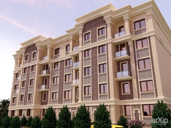 Многоэтажный дом, облицованный термопанелями
