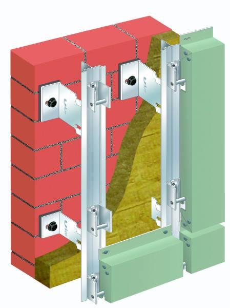 Схема крепления алюминиевых фасадных кассет