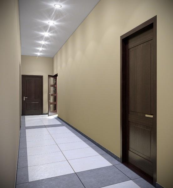 Отделка коридора: на стенах штукатурка, на потолке гипсокартон