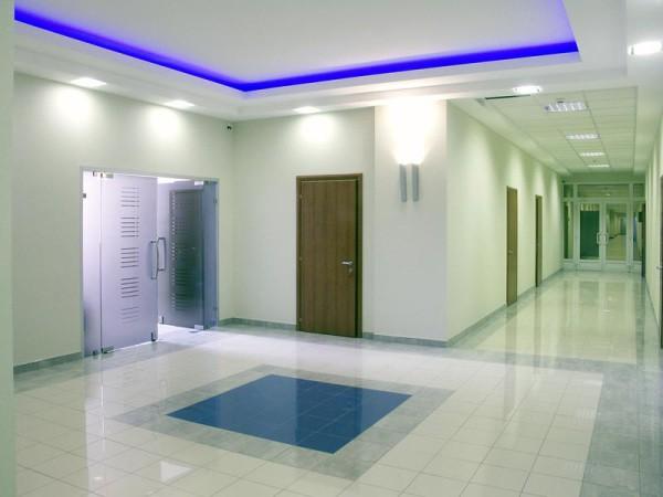 Вариант для офисного здания: оштукатуренные стены и гипсокартонные потолки
