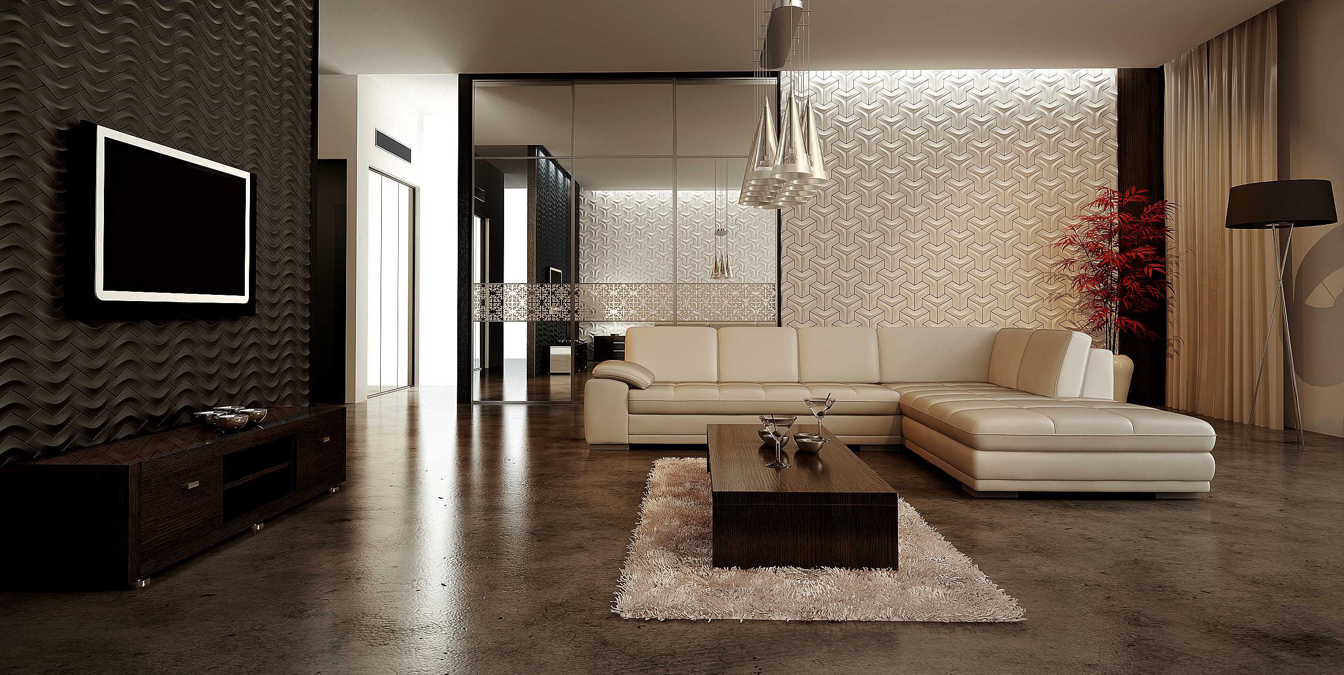 Дизайн плитки в зале