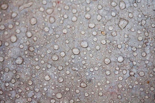 Качественно загрунтованная бетонная поверхность, как на этом фото, даже при наличии трещин не впитывает в себя воду