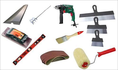 Основные инструменты, необходимые для шпаклевки потолка