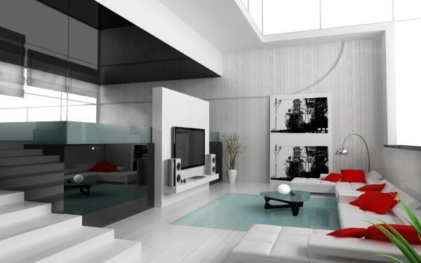 Плитка с эффектом окрашенной доски в дизайне гостиной