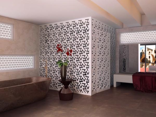 Фрезерованный гипсокартон в дизайне стен