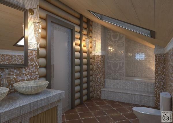 Бревенчатый дом: дерево и мозаика в ванной