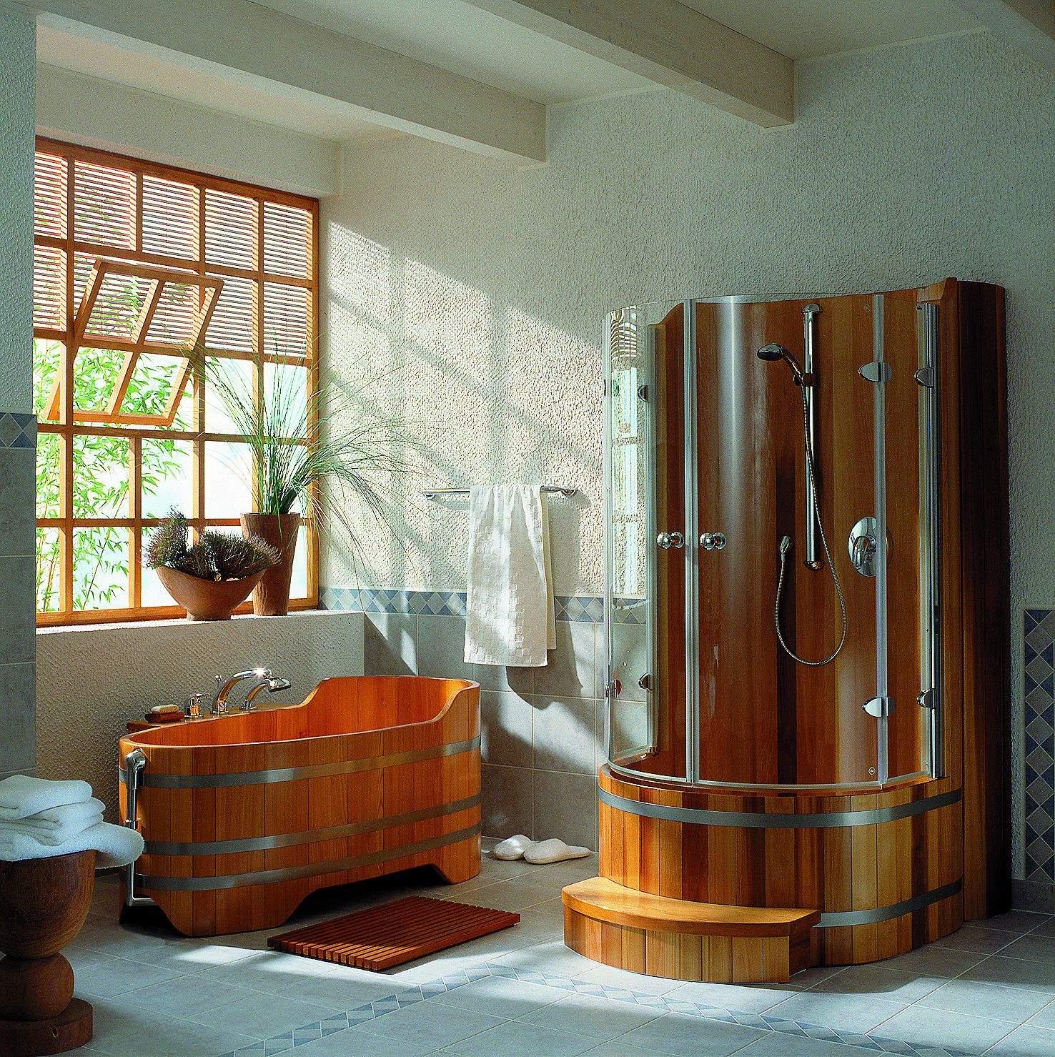 Meuble salle de bain bois exotique for Salle de douche bois