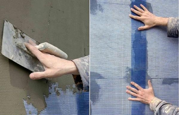 Монтаж армирующей стекловолоконной сетки