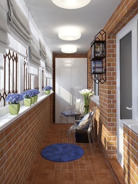 Прекрасное решение – отделать балкон плиткой под кирпич