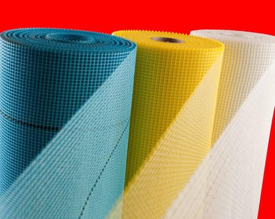 Сетка фасадная штукатурная стеклотканевая белого, желтого и синего цветов