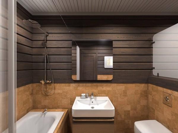 Ванная в брусовом доме: тонированная древесина и пробковая плитка