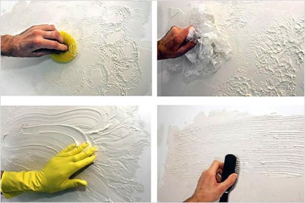 Варианты использования различных предметов для нанесения текстуры
