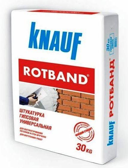 Для толстого слоя отлично подойдет штукатурка Ротбанд, для тонкого – Фугенфюллер от Кнауф