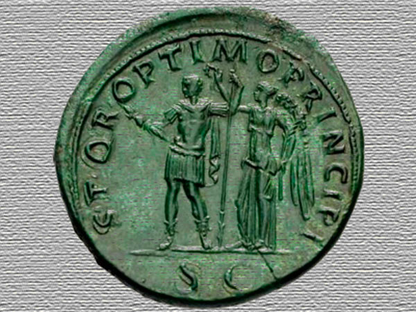 Окись меди на старинной монете