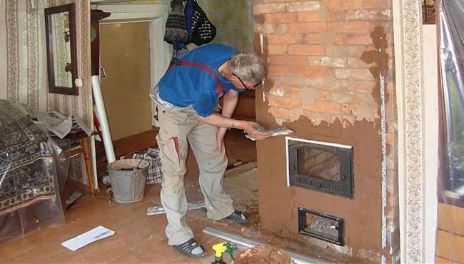 Оштукатурить печь глиной