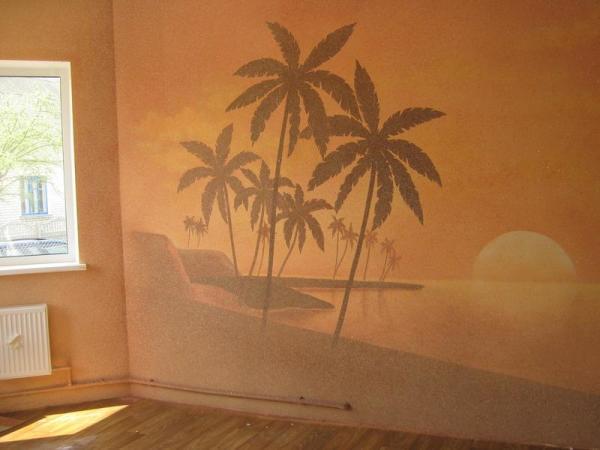 Благодаря жидким обоям, можно каждый день встречать закат на тропическом пляже, не выходя из квартиры