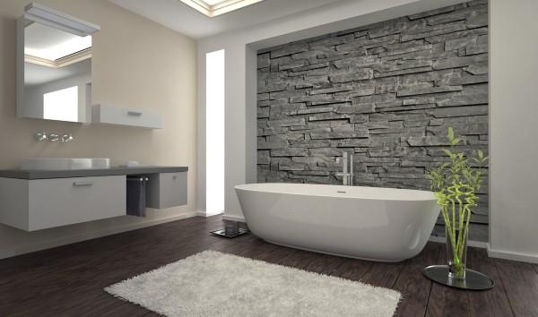 Декоративный камень и штукатурка в дизайне ванной
