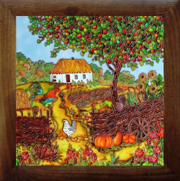 Рисунок витражными красками на стекле