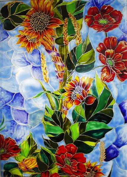 Роспись по стеклу красками для витража