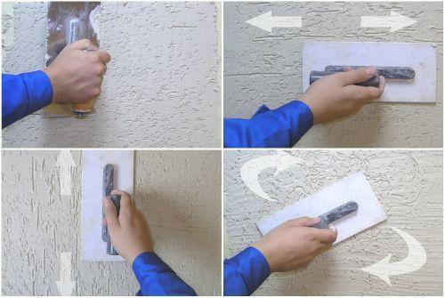 Создание разных текстурных рисунков при помощи строительной кельмы