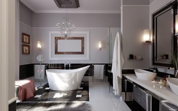 Текстурированная штукатурка в интерьере ванной